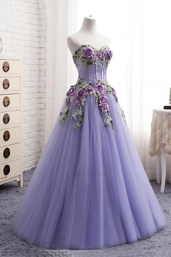 add10b0e40e Cheap Suitable Sweetheart Lavender Tulle Long 3D Flower Evening ...