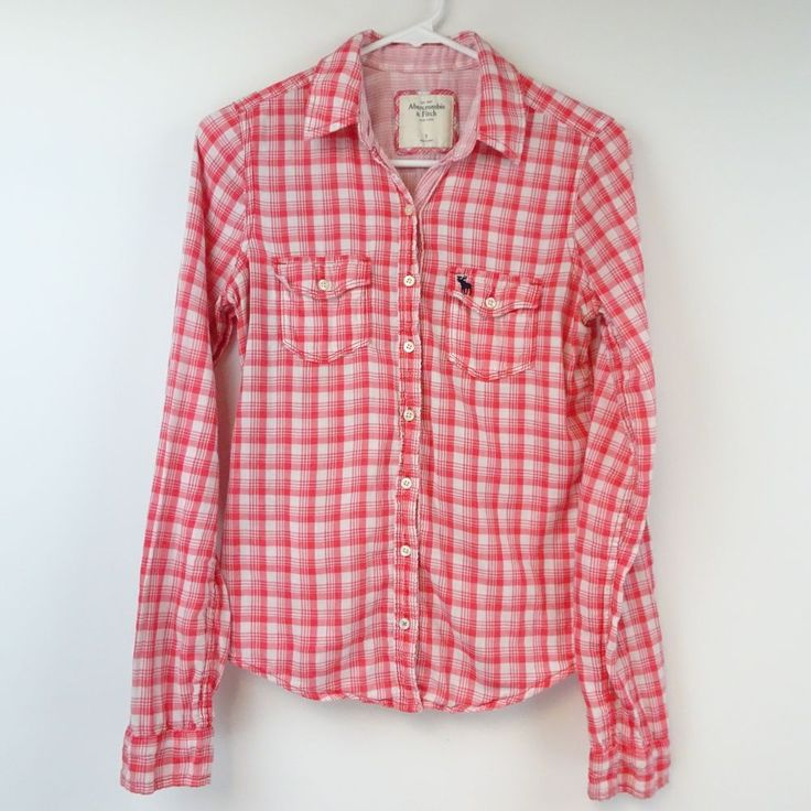 ABERCROMBIE & FITCH WOMENS Small Red White Plaid Button Down Shirt W285 #AbercrombieFitch #ButtonDownShirt #Casual