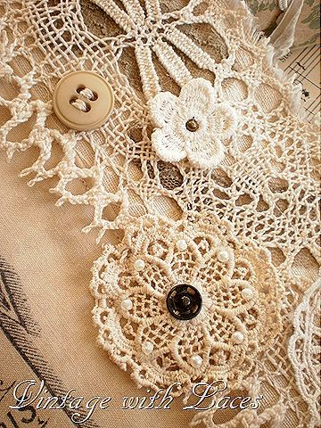 I like the idea of buttons and pearls on top of lace appliques. Need to add this to the runner I'm collecting for!