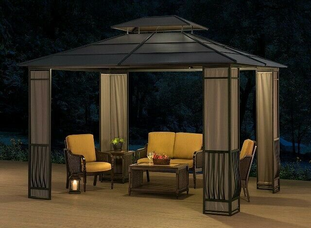 Hardtop Gazebo 10 X 12 Heavy Duty Galvanized Steel Mosquito Netting Panels Sunjoy Hardtop Gazebo Patio Gazebo Gazebo