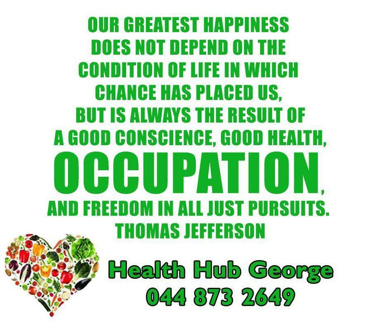 Our greatest happiness does not depend on the condition of life in which chance has placed us, but is always the result of a good conscience, good health, occupation, and freedom in all just pursuits. Thomas Jefferson #SundayMotivational #HealthHubGeorge