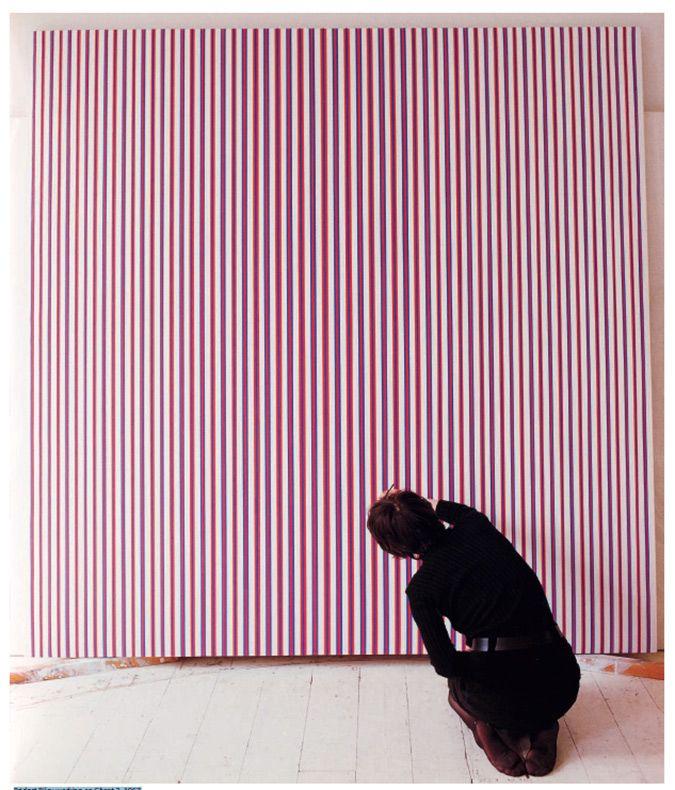 Bridget Riley working on Chant 2, 1967