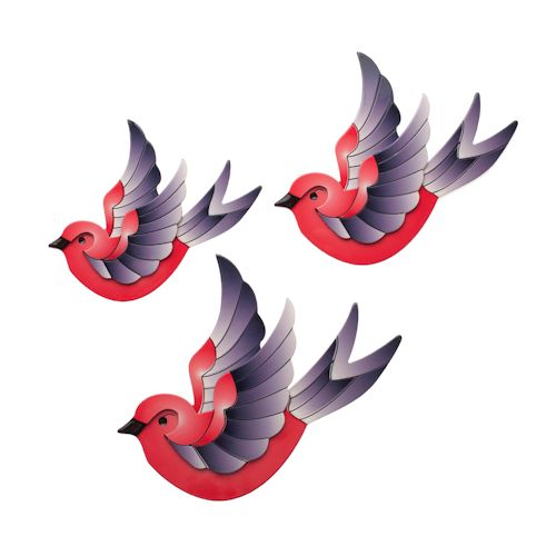 Limited edition, original Erstwilder Flying Sparrows wall decor in red. Designed by Louisa Camille Melbourne. Buy now