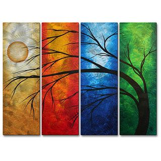 @Overstock.com - This large 23.5 x 55 piece of landscape metal wall art by Megan Duncanson features four panels of different bold colors with a unique brushed finish for added depth and beauty. The gorgeous tree and moon design will add drama to any decor scheme.http://www.overstock.com/Home-Garden/Megan-Duncanson-In-Living-Color-Metal-Wall-Art/6735535/product.html?CID=214117 $161.99