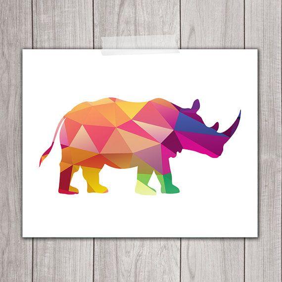 65% OFF SALE Rhino Art Print - 8x10 Geometric Art, Geometric Print, Rhinoceros, Printable Art, Animal Silhouette, Home Decor