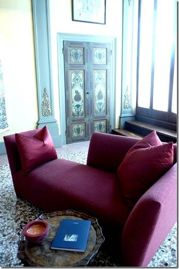 Brilliant Burgundy On This Donghia Sofa.
