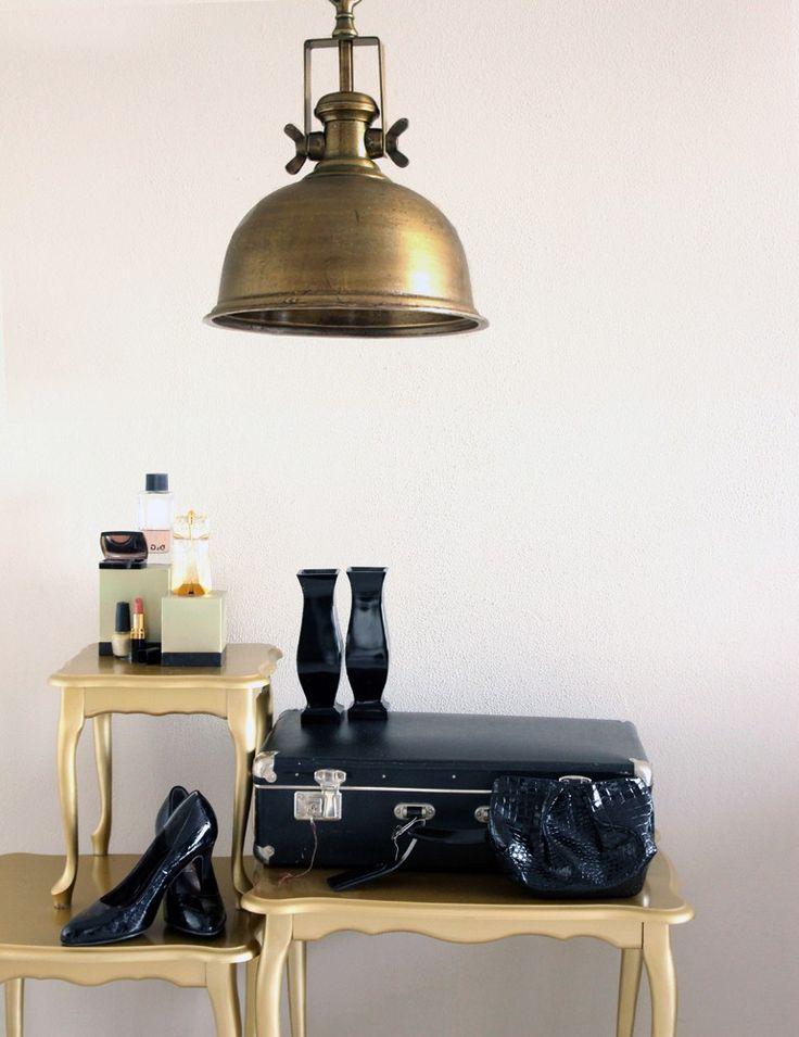 Bronskleurige industriele hanglamp klokvorm https www for Lampen scandinavian design