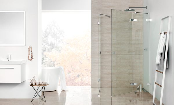 Dansani AIR shower solution and Calidris furniture and mirror is an uncompromising choice of materials with an airy and floating look.
