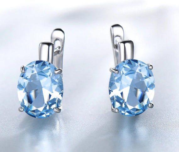UMCHO Real 925 Sterling Silver Clip Sky Blue Topaz Earrings For Women Gemstone