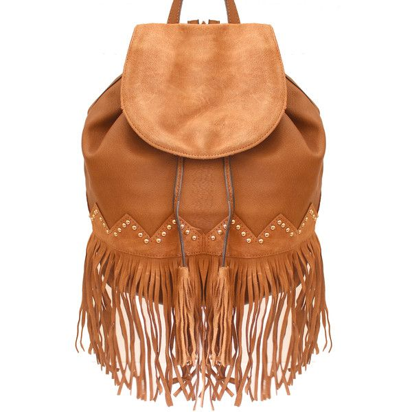 Liquorish Camel Backpack With Fringing ($59) ❤ liked on Polyvore featuring bags, backpacks, brown, rucksack bag, camel backpack, camel bag, summer bags e boho backpack