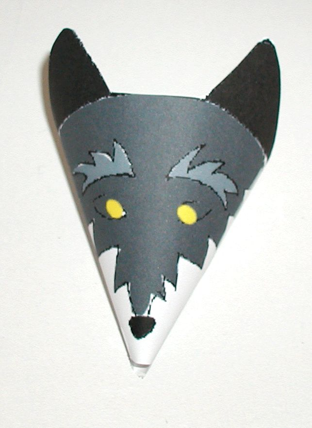 """Cone wolf craft (make after reading """"Three Little Pigs"""".)  Review cone shape and numbers 1 wolf, 3 pigs."""