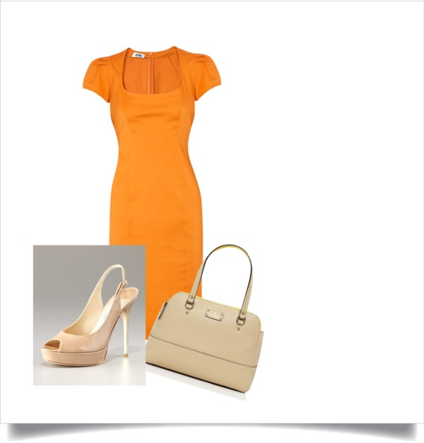 """Work outfit - orange"" by victoriasmith-2 on Polyvore"