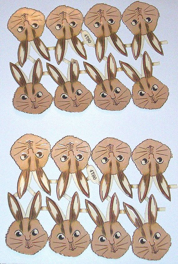 16 Old Vintage German made in Germany Easter bunny rabbit heads scraps diecuts crafts