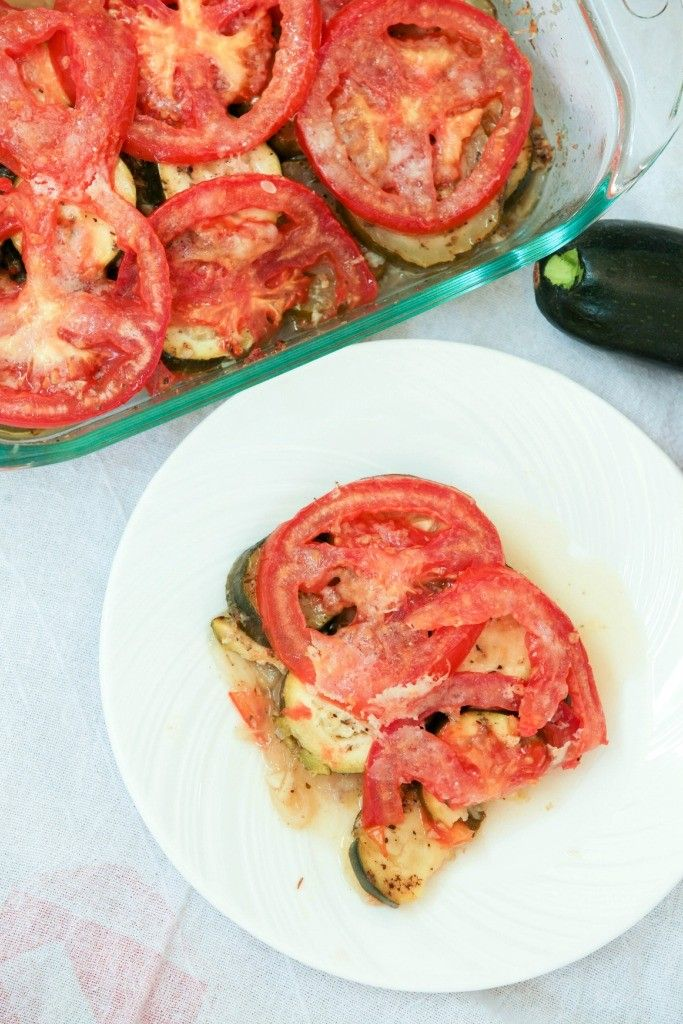 So easy & delicious - Zucchini Tomato Casserole with Parmesan Cheese - Low Calorie, Low Fat, Healthy Dinner recipe - Vegetarian Side Dish
