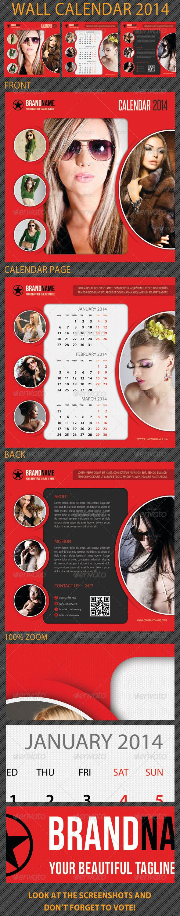 Wall Calendar 2014  #GraphicRiver         A clean, crisp, high impact, multiuse PSD Calendar Template Layout, perfect for advertisement, presentation or product promotion! Highly editable PSD calendar template, very easily customise to make it your own in seconds!  Pack included: 	 	 6 PSD files 		 Front and Back page 		 Fully Layered – well organized folder 		 Clean Design 		 Bleed Size: 11.25×11.25 inches 		 Standart Cut Size: 11×11 inches 		 Bleeds 0.125 inches all side 		 High Quality 		…