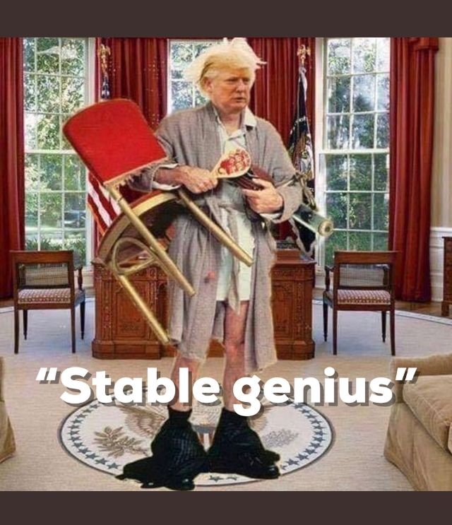 Stable genius my ass! He acts like a monkey trying to fuck a football!