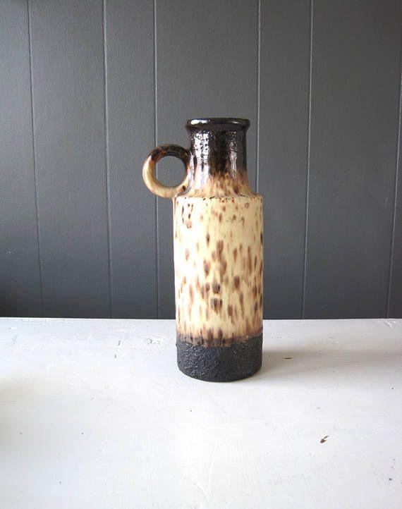 Vintage Scheurich Jug Vase Pattern 401-28 Beige and Brown