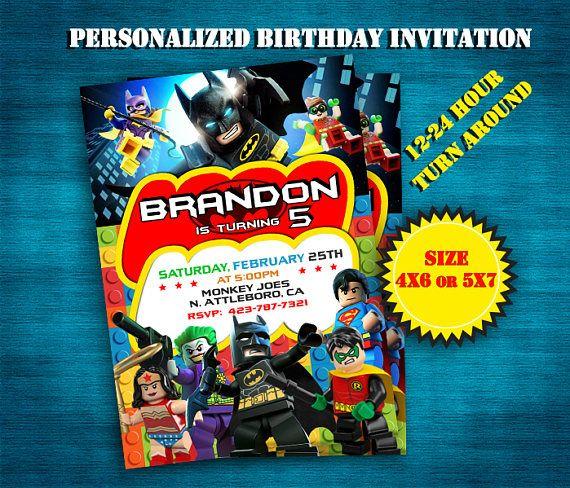 Invitación  Lego Batman invitar  Lego Batman cumpleaños