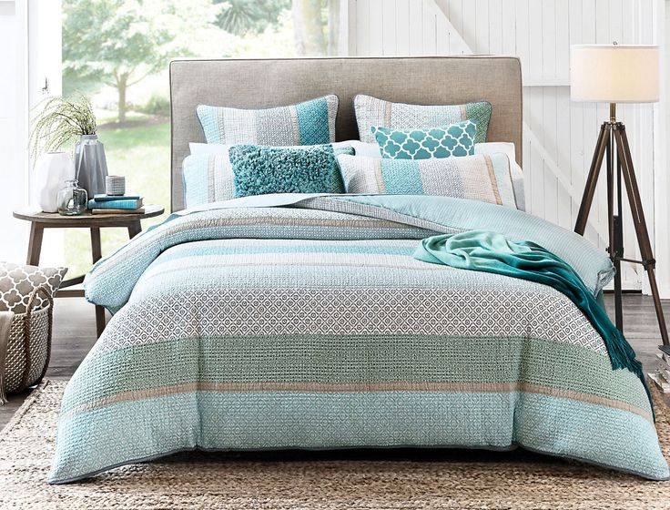 Embrace the unexpectedly vibrant colour scheme of the Brennan quilt cover to create a contemporary yet soothing sanctuary in your bedroom. Now available in a Super King quilt cover.