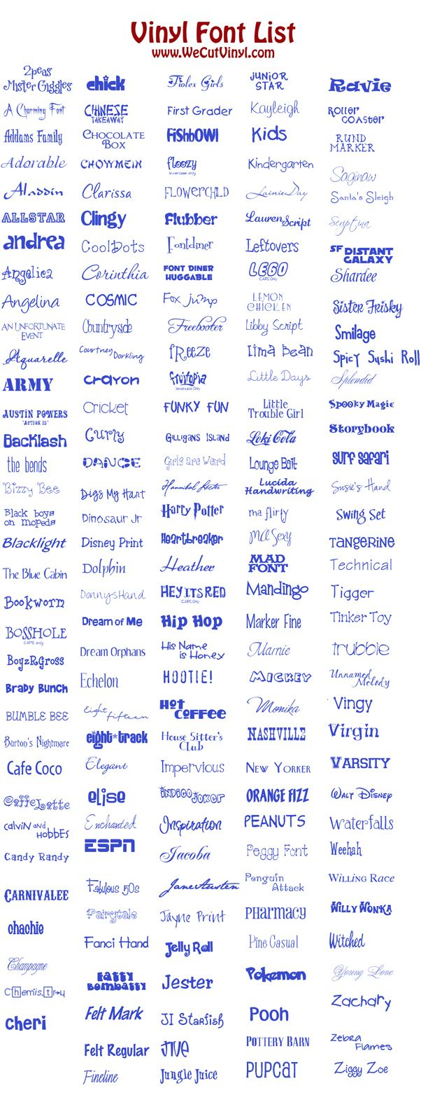 Font list - cannot download fonts from link but can find online. Good fonts for vinyl cutting
