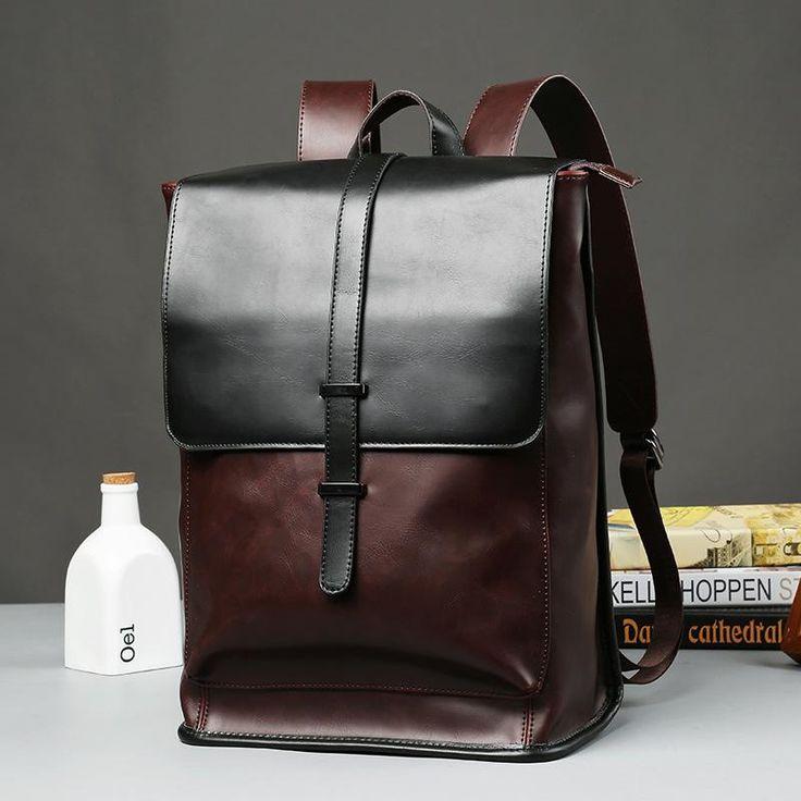 2017 New Sale Kpop Printing Backpack Mochilas Retro Crazy Horse Leather Backpack Male Korean Travel Pu Bag Men Students