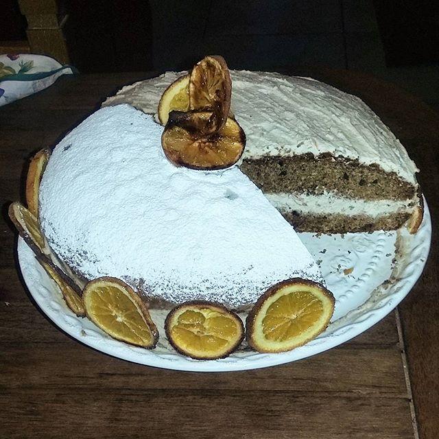 La mia torta alla arancia con mousse di ricotta al cardamomo   #instacake #delicious #mycake #orange #cardamom #brocciu #mylove #lovecooking #antropologaincucina #followme