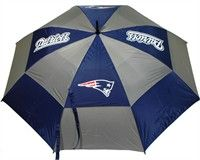 "New England Patriots Umbrella This 62"" umbrella features double canopy design, 4 location logo and printed sheath"
