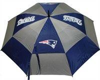 "New England Patriots Umbrella This 62"" umbrella features double canopy design, 4 location logo and printed sheath"