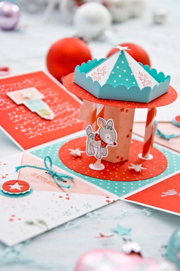 Also das Weihnachten vorbei geht ohne das ich eine Box mache... DAS GEHT NICHT :))) Also hab ich hin- und her überlegt und bin auf die Idee gekommen mein Kinder-Karussell auf Weihnachten zudekorie...