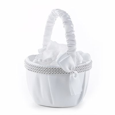 Classy Bling Flower Girl Basket - The Wedding Faire