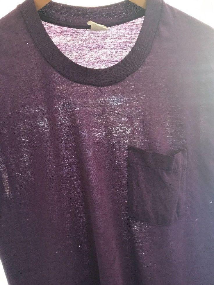 VTG 80s Fruit Loom Golden Blend Purple Faded Blank Pocket T-Shirt Destroyed #FruitoftheLoom #BasicTee