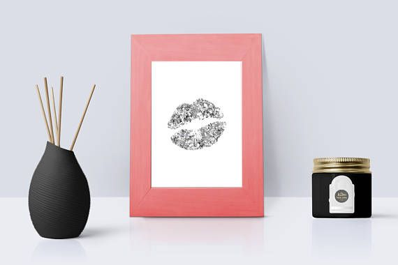 Silver Glitter Kiss Lips Print | Lipstick Silver Foil Wall Decor