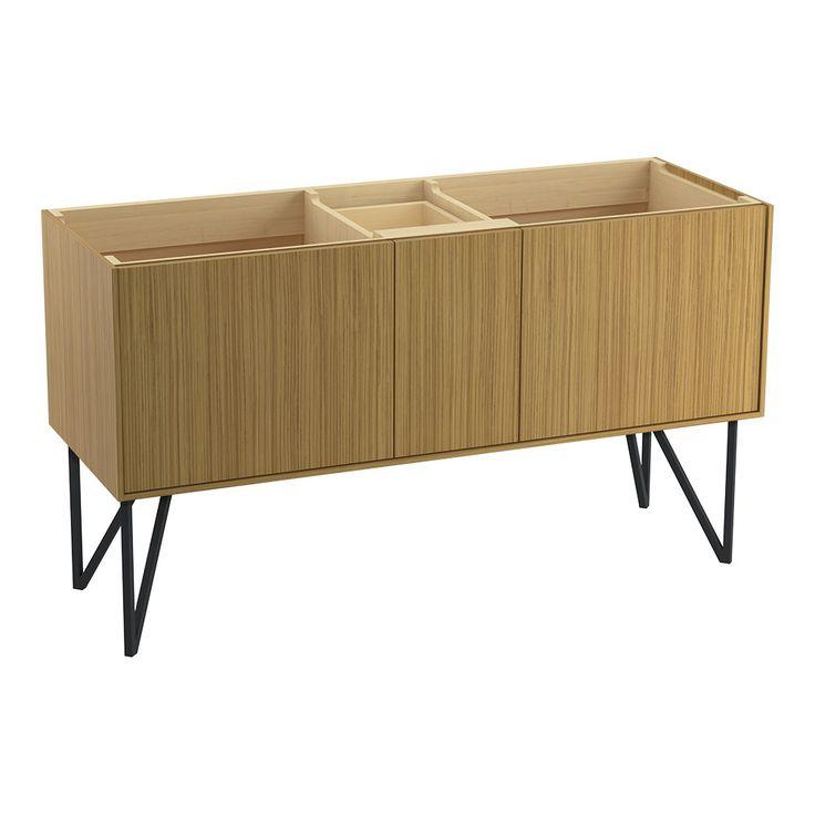 """Jute 60"""" Vanity Base with Furniture Legs, 2 Doors and 1 Split Drawer"""
