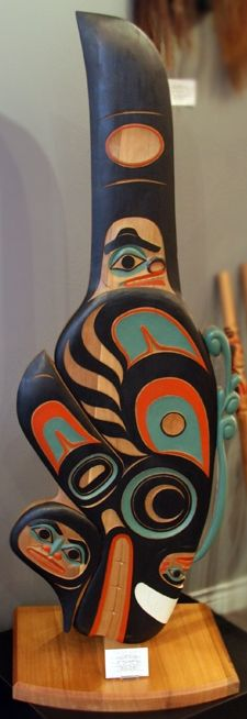 Hand Carved Killer Whale Free Standing Panel by Tlingit artist, Israel Shotridge from Ketchikan, Alaska.  Carved from Red Cedar.  5.5 feet h...
