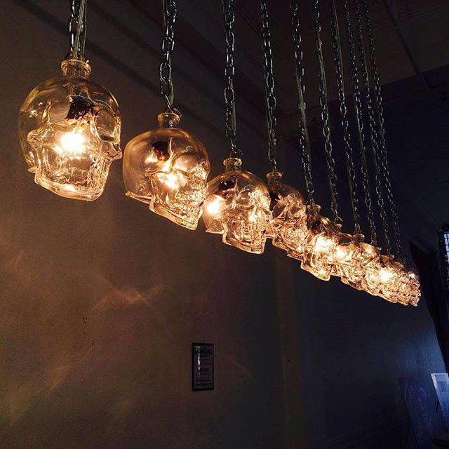 Hanging glass skull pendant lights - Made from Crystalhead vodka bottles