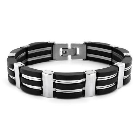 B047003 - Men's Stainless Steel and Black Rubber Bracelet