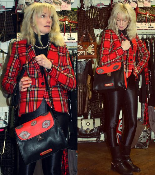 25-11-13 - Anna Smith Red Lips Glitter Kiss Luxe Leather PU Handbag with Black Chain Strap RRP £38 - Rokii save 20% £30.80, Rokii Red Tartan Blazer RRP £38 Save 25% Rokii £28, Necklace £6.00.  Rokii Portsmouth rokii.co.uk   Jacket, Bag, necklace, earings all Rokii Portsmouth  Anna Smith Red Lips Glitter Kiss Handbag In Luxe Leather Pu   Rrp £38   Rokii £30.40, Red Tartan Blazer Rrp £38   Rokii £28.50, Rokii Pearl Necklace Chain £6, American Apparel Disco Pants In Black Aw12