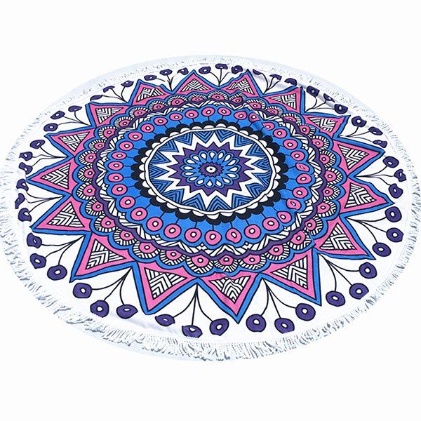 Tropical Style Tassel Fringing Yoga Mat Gypsy Cotton Tablecloth Flower Totem White Round Beach Towel #women, #men, #hats, #watches, #belts, #fashion