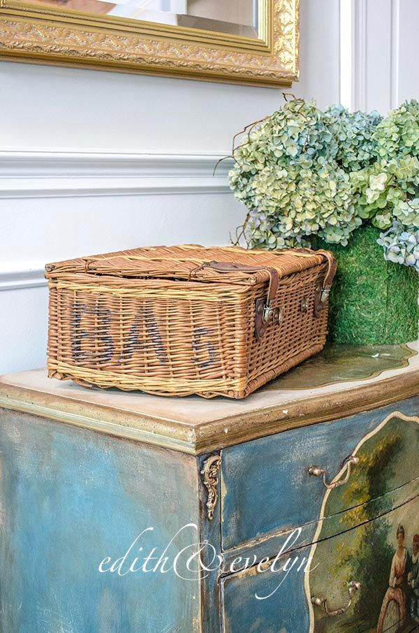 Antique French Basket Hamper, Leather Straps, from France by edithandevelyn on Etsy