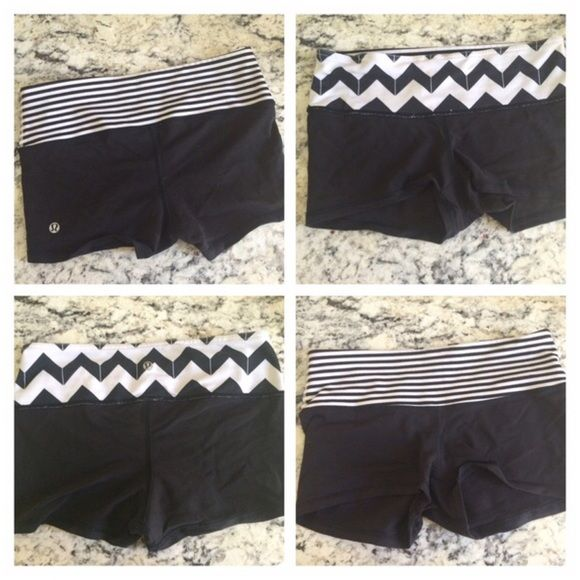 Lululemon- Reversible Short- Chevron Band Very adorable! Light used condition, has sign of light linting throughout. No holes or stains.  Priced lower in consideration of linting. 025 lululemon athletica Shorts