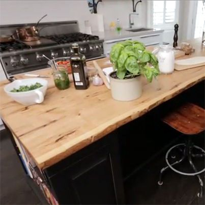 Reclaimed Live Edge Slab Wood Kitchen Counters and Island