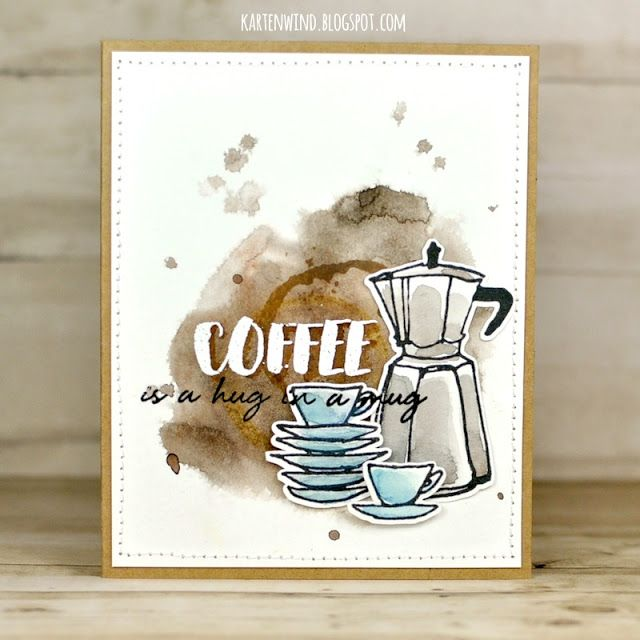 Kartenwind: Coffee is a hug in a mug Altenew Clear Stamps |Simon Says Monday Wednesday Challenge Watercolor Coloring Card making Karte Kaffee
