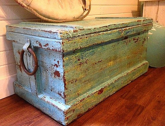 Ocean Reef Antique Trunk Chest Treasure Chest by CastawaysHall, $695.00
