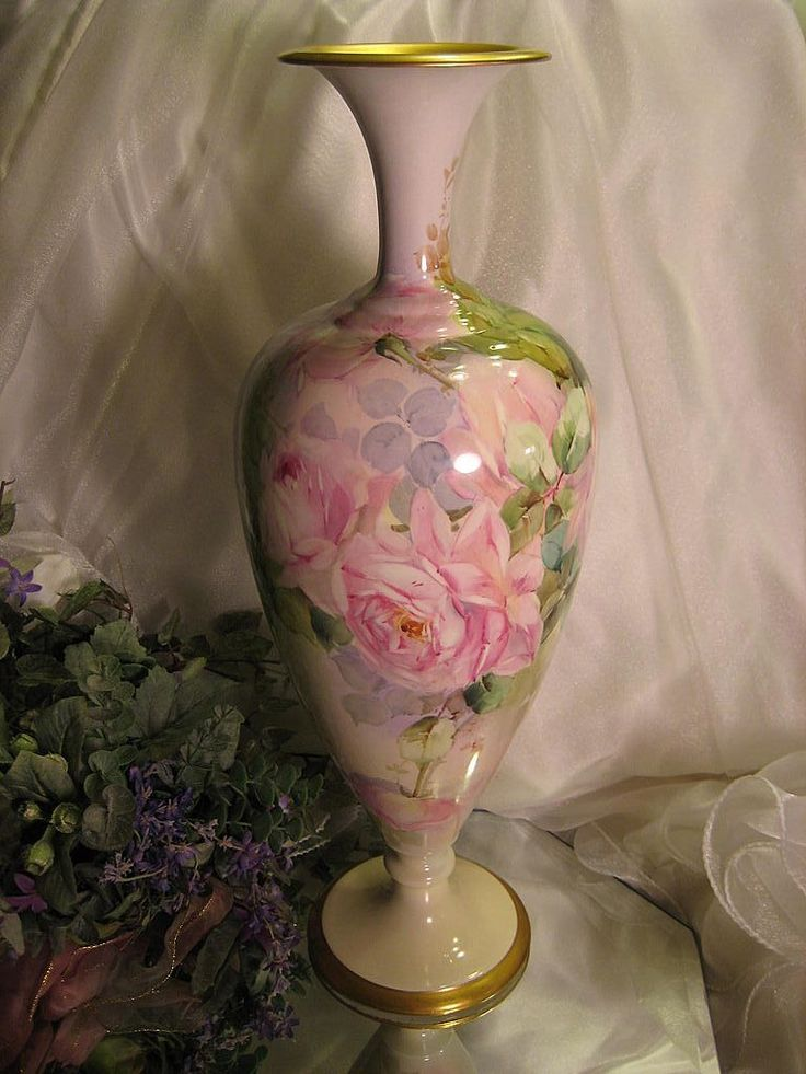 Absolutely Exquisite Antique Willets Belleek Hand Painted Vase, Superb Mastery Artistry Roses Vintage Victorian China Painting PINK ROSES Ha...
