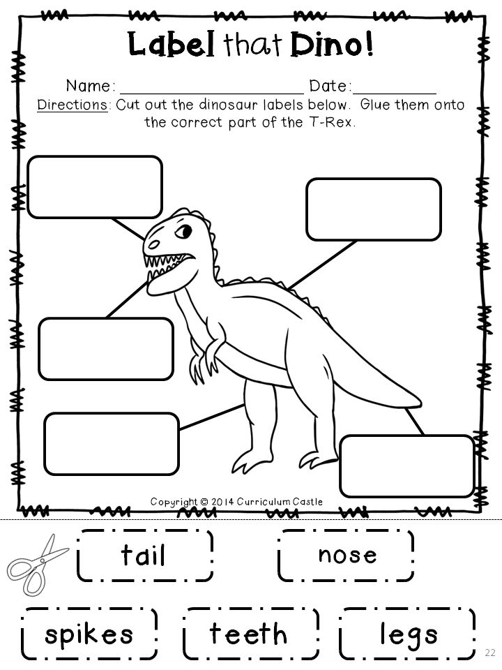 label that dino dinosaur labeling activity summer theming pinterest activities and. Black Bedroom Furniture Sets. Home Design Ideas
