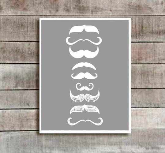 "mustache print! Grey ""Little Man Of Many Mos"" Nursery Decor"
