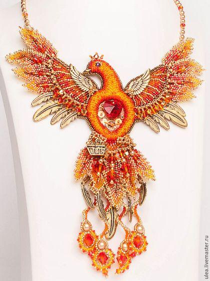 Beade necklace / Колье `Феникс`. Авторская работа Ульяны Молдовян. Нарядное колье из бисера и Сваровски. Сказочная птица Феникс.