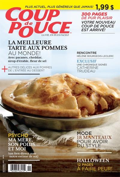 En couverture de notre magazine de novembre 2012: Notre tarte aux pommes, au cheddar, à l'érable et à la fleur de sel.