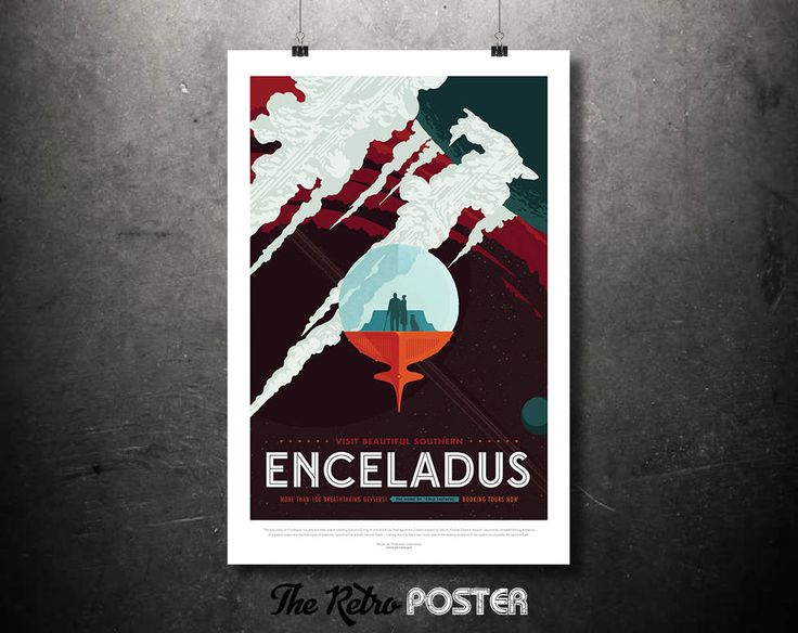 NASA Space Travel Poster - Visit Beautiful Southern ENCELADUS - Father's Day Gifts for Dad Retro Sci Fi Fantasy Space Age Art Print by TheRetroPoster on Etsy