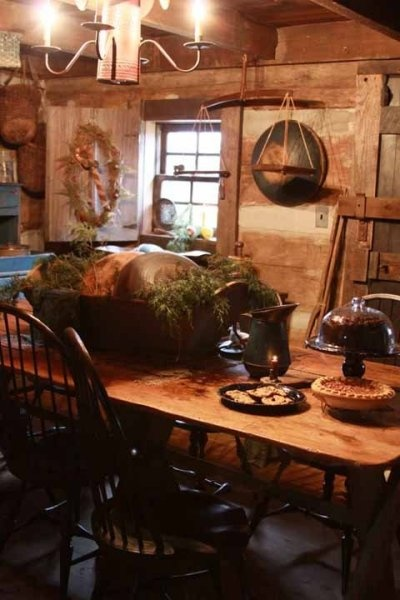 prim.kitchen..: Window Shutters, Rustic Rooms, Dining Rooms, Rustic Dining, Primitive Tables, Rustic Kitchens, Country Christmas, Logs Cabins, Primitive Decor